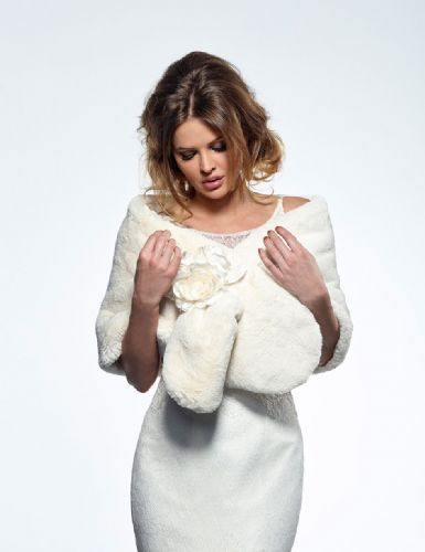 Mila Faux Fur Bridal Wrap, Wedding Shrug